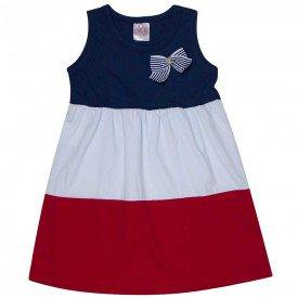 vestido infantil feminino marinho branco vermelho 1259 8650