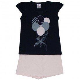 conjunto infantil feminino camiseta e short saia preto rosa claro 1279 8670