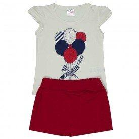 conjunto infantil feminino camiseta e short saia off white vermelho 1279 8671