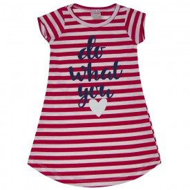 vestido infantil feminino listrado vermelho 1284 8685