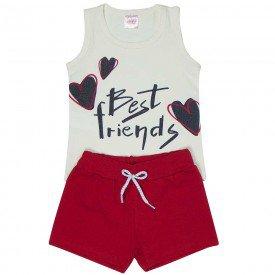 conjunto infantil feminino best friends off white vermelho 1286 8692