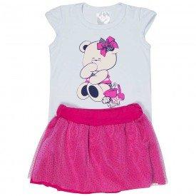 conjunto bebe menina ursinho branco pink 1238 8600