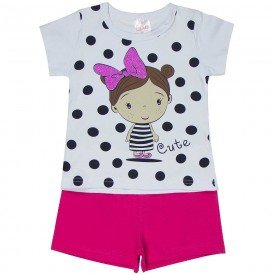 conjunto infantil feminino cute branco pink 1248 8617