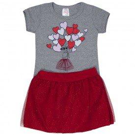 conjunto infantil feminino coracoes mescla vermelho 1253 8632