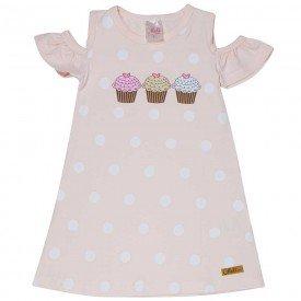 vestido infantil feminino poa rosa claro 1260 8652