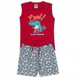 conjunto infantil masculino cool vermelho chumbo 4573 9147 2