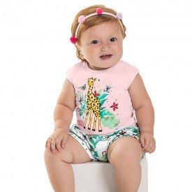 conjunto bebe menina safari pessego branco 6644 8919