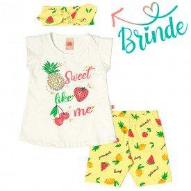 conjunto infantil feminino sweet cream frutas melao brinde faixa cabelo 6653 8829