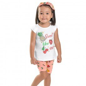 conjunto infantil feminino sweet branco frutas flamingo brinde faixinha 6653 8928