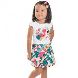 conjunto infantil feminino blusa e short saia branco tropical rosa 6659 8931