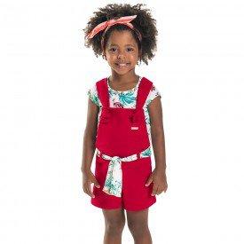 conjunto infantil feminino jardineira branco vermelho 6660 8932