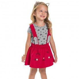 conjunto infantil feminino salopete mescla vermelho 6661 8934