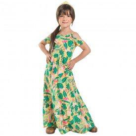 vestido infantil ate no pe longo feminino tropical amarelo 6685 8945