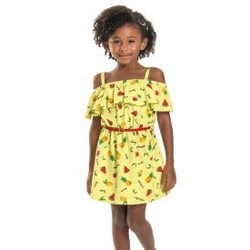 vestido infantil feminino frutas amarelo 6687 8947