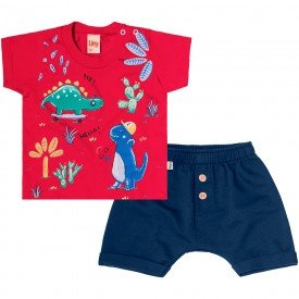 conjunto bebe menino dino vermelho navy 6721 8951