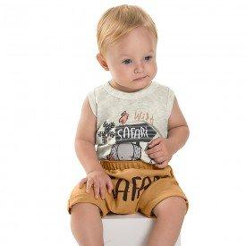 conjunto bebe menino safari mescla cream caramelo 6723 8953