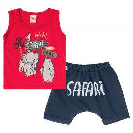 conjunto bebe menino safari vermelho navy 6723 8954