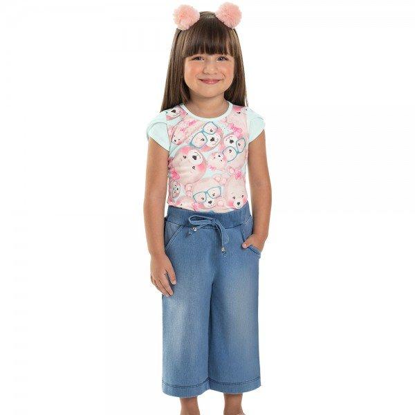 conjunto infantil feminino pantacourt pistache jeans 6813 9032