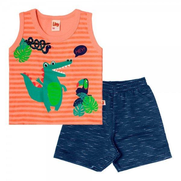 conjunto bebe menino regata e bermuda moletinho orange navy 6725 8957