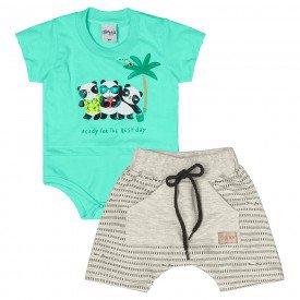 conjunto bebe menino pandas verde mescla cream 6865 9034