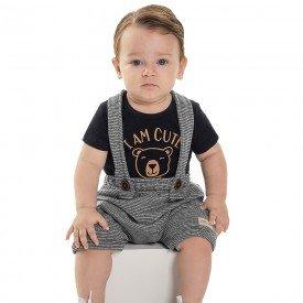 conjunto bebe menino jardineira preto mescla 6867 9035