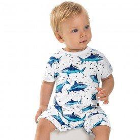 macacao bebe menino shark branco 6726 8959