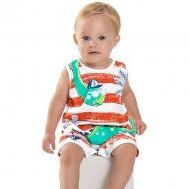 macacao bebe menino dino branco vermelho 6727 8961