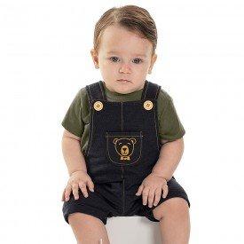 jardineira bebe menino bear preto 6872 9040
