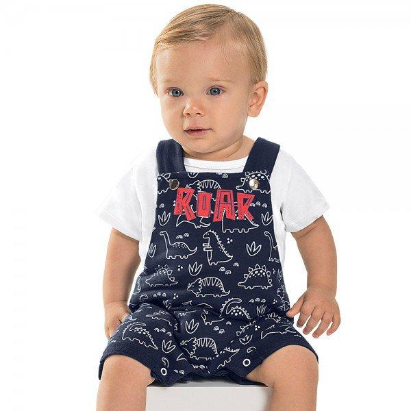 conjunto jardineira bebe menino dino moletinho branco navy 6728 8963