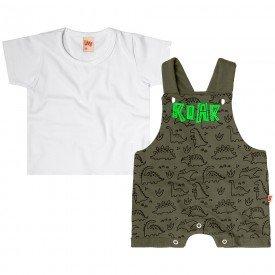 conjunto jardineira bebe menino dino moletinho branco verde militar 6728 8965