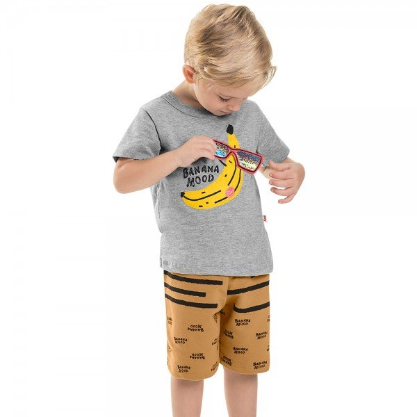 conjunto infantil masculino banana mescla medio caramelo 6730 8969