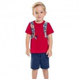 conjunto infantil masculino brinde chaveiro vermelho navy 6733 8973 2