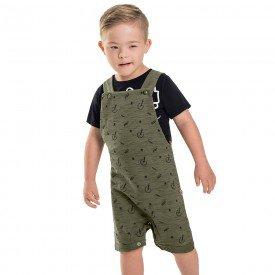 jardineira infantil masculina moletinho verde militar 6741 8978
