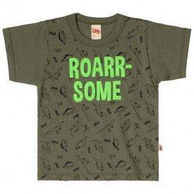 camiseta infantil masculina roar verde militar 6745 8986