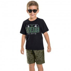 conjunto infantil masculino skate preto verde militar 6753 8997