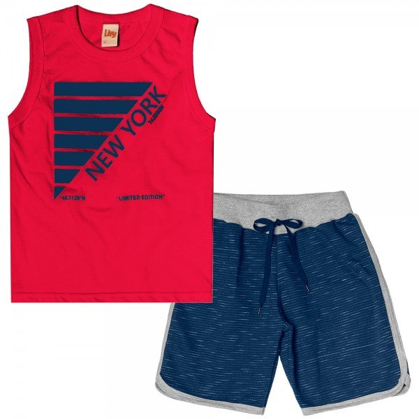 conjunto infantil masculino new york vermelho navy 6760 9003
