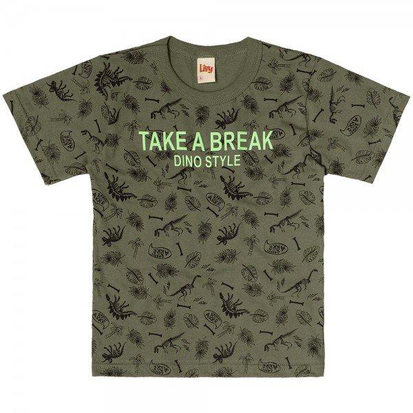 camiseta infantil masculina dino style verde militar 6763 9005