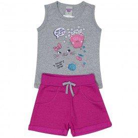 conjunto infantil feminino regata e short moletinho mescla pink 4519 9068 1