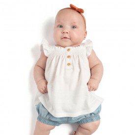 conjunto bebe menina bata e short off white chambray claro 0082 9291