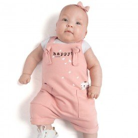 conjunto bebr menina body e jardineira moletinho branco rosa cha 0086 9296