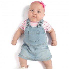 conjunto bebe menina body e salopete branco rosa neon jeans confort claro 0088 9298