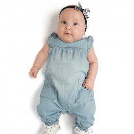 macacao bebe menina jeans chambray extra claro 0089 9299 2