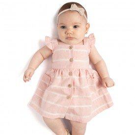 vestido bebe menina linho listrado rosa 0091 9300