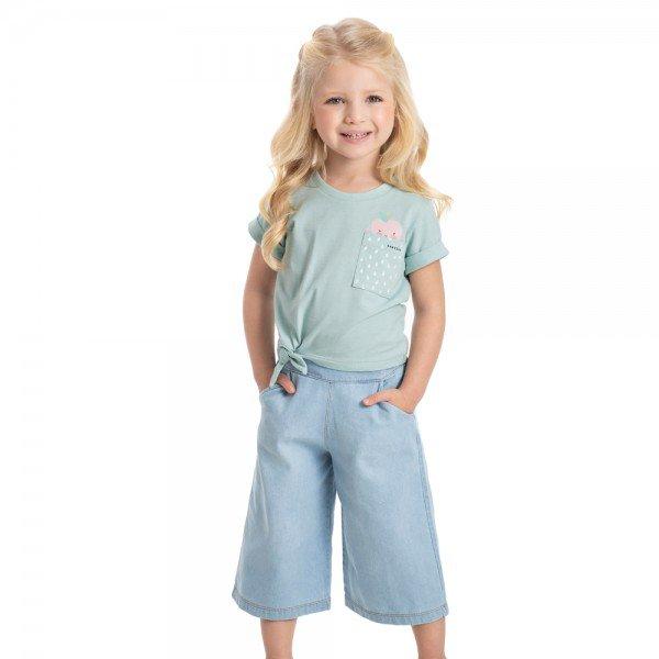 conjunto infantil feminino blusa verde cha e pantacourt jeans light claro 1221 9301