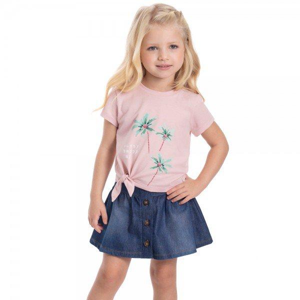 trijunto infantil feminino blusa saia e short rosa candy chambray medio 1223 9304