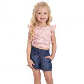 conjunto infantil feminino blusa e short rosa candy chambray medio 1225 2224 9305