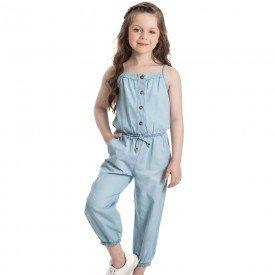 macacao infantil feminino jeans chambray extra claro 1232 2229 9309