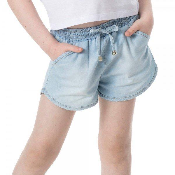 short infantil feminino jeans chambray extra claro 1238 2237 9311