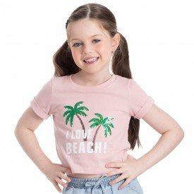 camiseta cropped infantil feminino beach rosa candy 2236 9315
