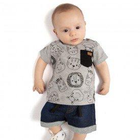 conjunto bebe menino safari mescla jeans confort medio 4085 9322